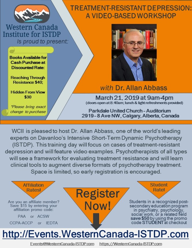 Dr Allan Abbass Depression Workshop March 21 2019 Brochure 190112